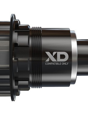 The SRAM X0 rear hub is compatible with 10-speed and 11-speed XD driver bodies