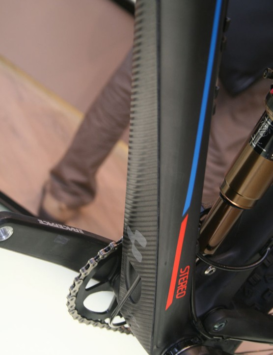 All the Cube Stereo bikes feature an integrated down tube protector