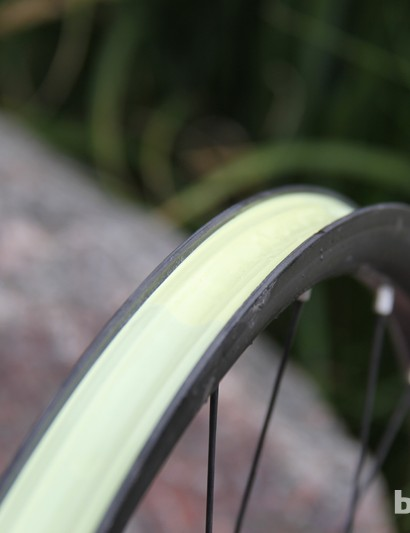 Like all Stan's NoTubes rims, the Valor uses yellow tape to seal the inner wall of the rim for tubeless use
