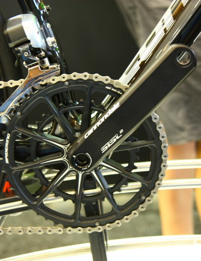 Producing cranks in-house provides flexibility for frame design. The 2014 Cannondale Synapse Hi-Mod Disc has a BB30A bottom bracket, meaning an asymmetric design with 5mm of extra width on the non-driveside