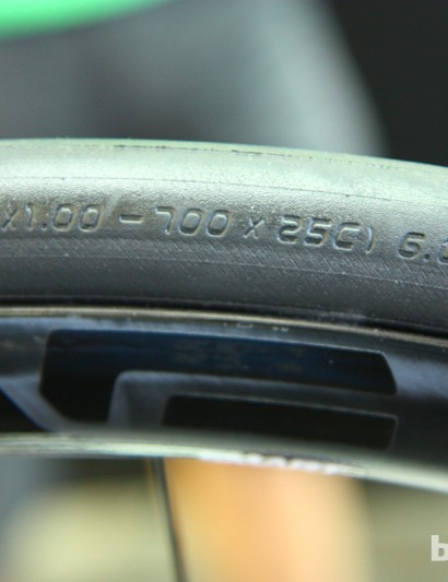 Cannondale uses 28c tires on all its Synapse bikes except the top Hi-Mod Disc, which gets 25c Schwalbes