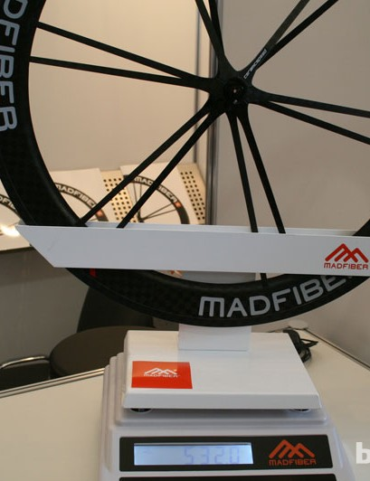 Mad Fiber were showing off their latest generation hoops at Eurobike 2013. The axle design has been improved to save weight and add adjustability, while CeramicSpeed bearings mean less friction than before