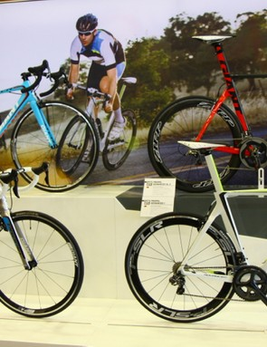The two Giant Propels on the bottom are trickledowns from the Propel Advanced SL at the upper right. A Giant TCR sits on the upper left