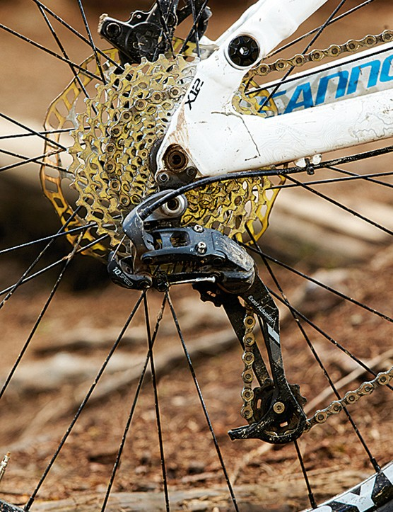 The SRAM X7 mech doesn't feature a clutch mechanism, which makes for lots of chainslap