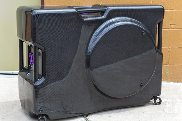 This $50,000 carbon fiber travel case was built by Fairwheel Bikes for a Swiss customer seeking a bold statement