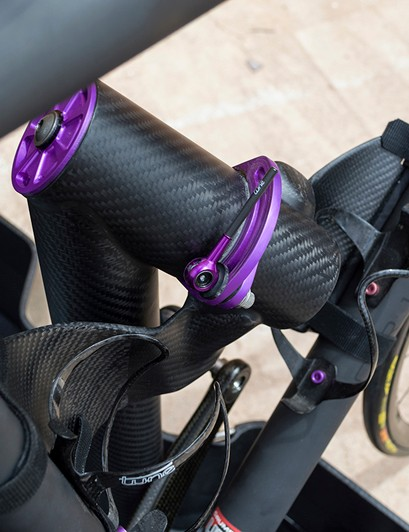The only thing holding the bike's frame inside the custom Fairwheel case is this custom carbon fiber cradle. Notice that the cradle's arms are bigger than the frame's down tube