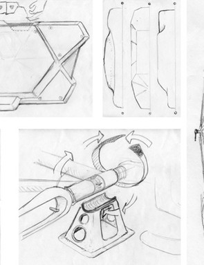 Sketches show some of the early thought processes behind the custom Fairwheel travel case