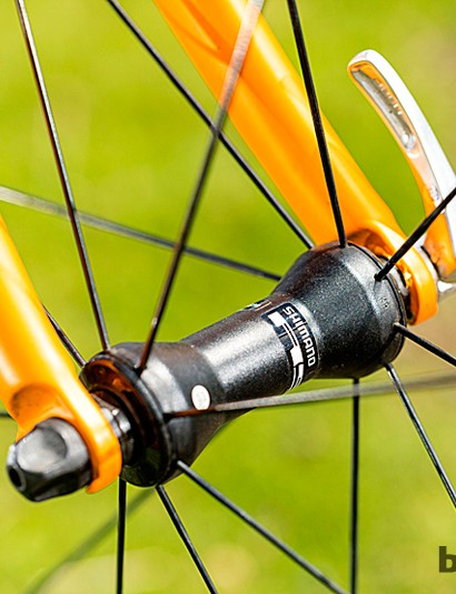 Shimano 105 is paired with the same company's smooth-running wheels