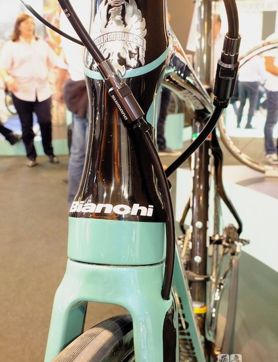 The front brake hose runs internally down through the Bianchi Infinito CV's fork leg