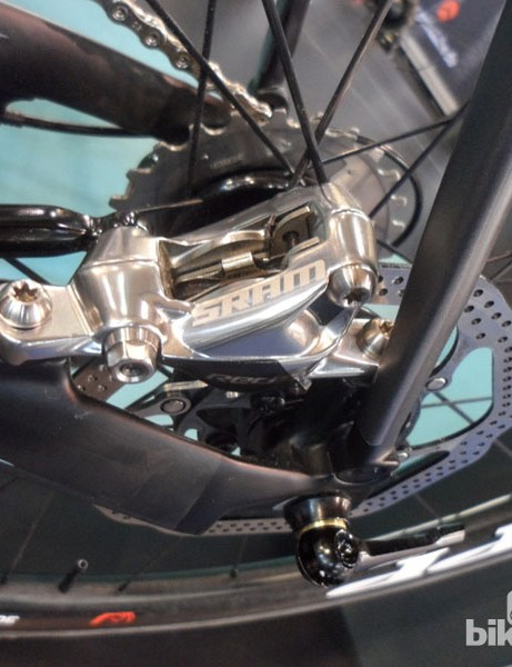 The Bianchi Oltre XR2's rear disc mount sits neatly inboard of the seat and chainstays