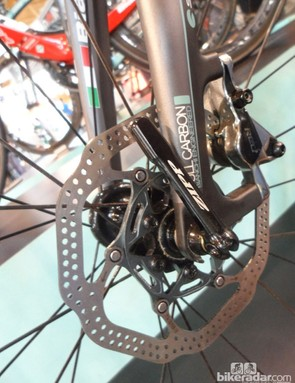 The rear-exiting cable hose keeps things tidy up front on the Bianchi Oltre XR2