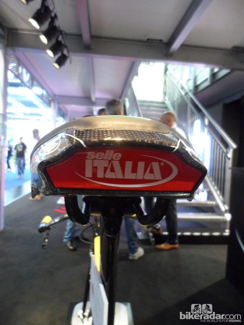 Selle Italia tell us the full production version of the Iron tri/TT saddle will have a built-in reflector in this red area