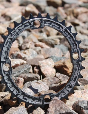 Graphics are laser etched so the Race Face Narrow/Wide chainrings will look good regardless of which side is facing out