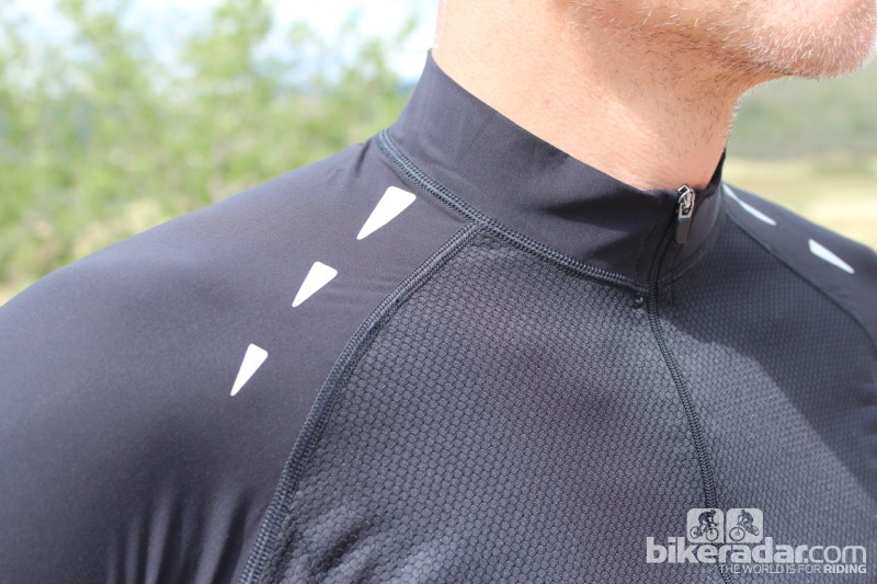 Coldblack heat-reflective treatment is used on the stretchy shoulders, and the body is made of a thin, breathable mesh