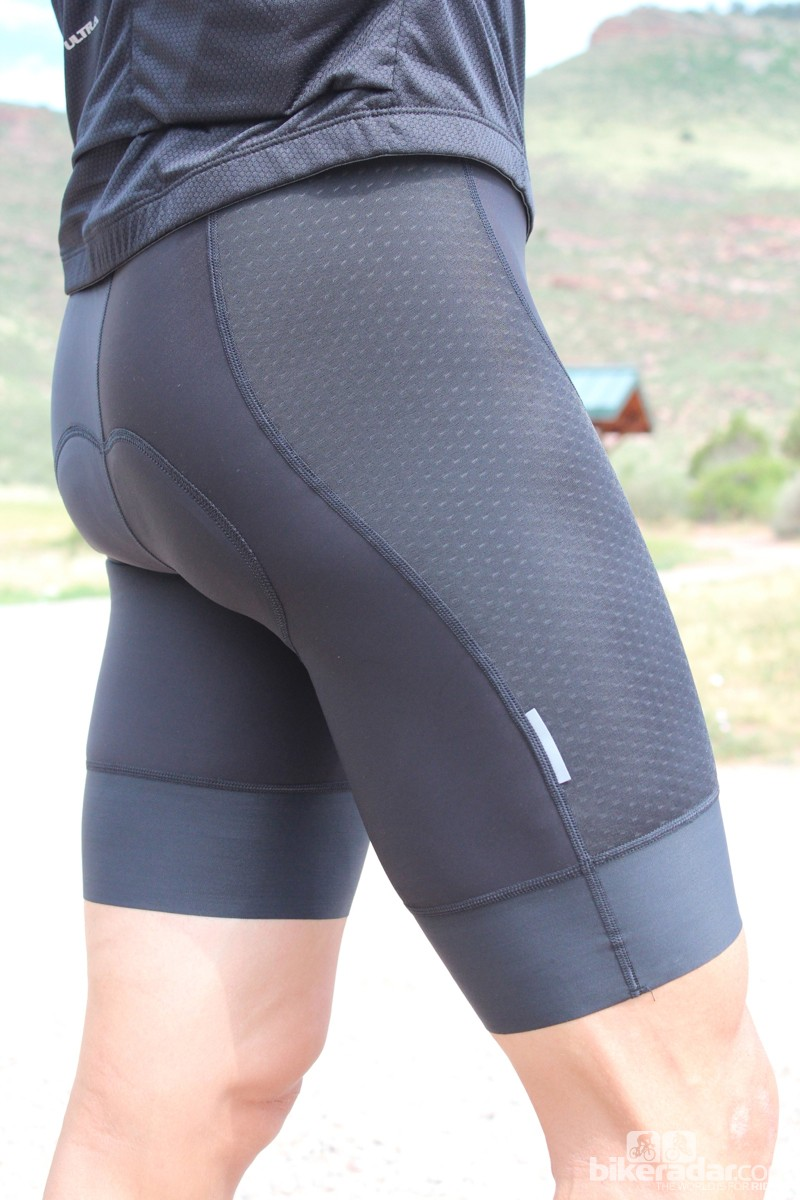 The Ultra bibs have three main types of material: a thinner mesh on the sides, a compression band at the leg openings and a thicker material everywhere else