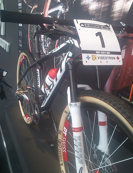 Nino Schurter's Scott still had its first place number plate on it from his recent victory at Mont-St-Anne