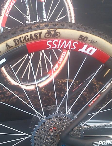 Dugast tubulars glued to DT Swiss carbon rims on Schurter's bike