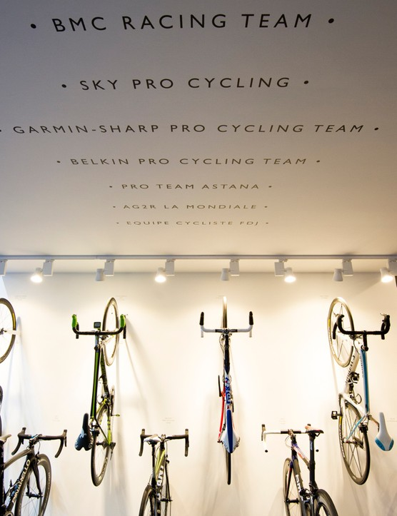 Fi'zi:k collected a number of pro bikes, all of which happened to have, quite coincidentally, Fi'zi:k saddles