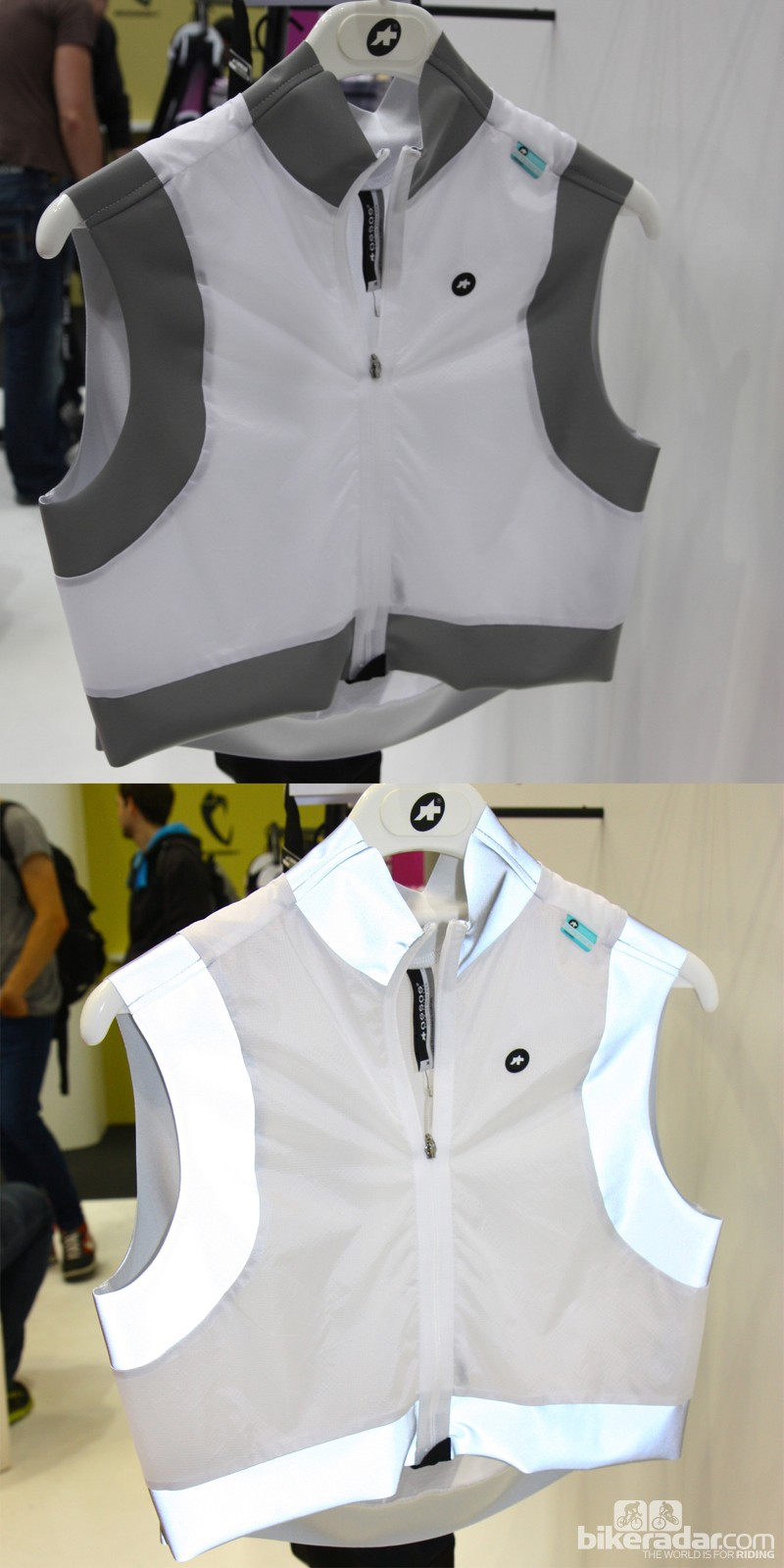 The Assos Emergency vest is meant for visibility, not weather protection. The top photo is of the vest in normal light; the lower photo was shot with a flash