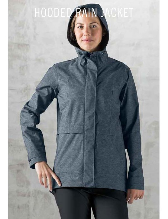 The Giro New Road Hooded Rain Jacket has hidden internal back pockets and a cotton-like exterior that's still waterproof