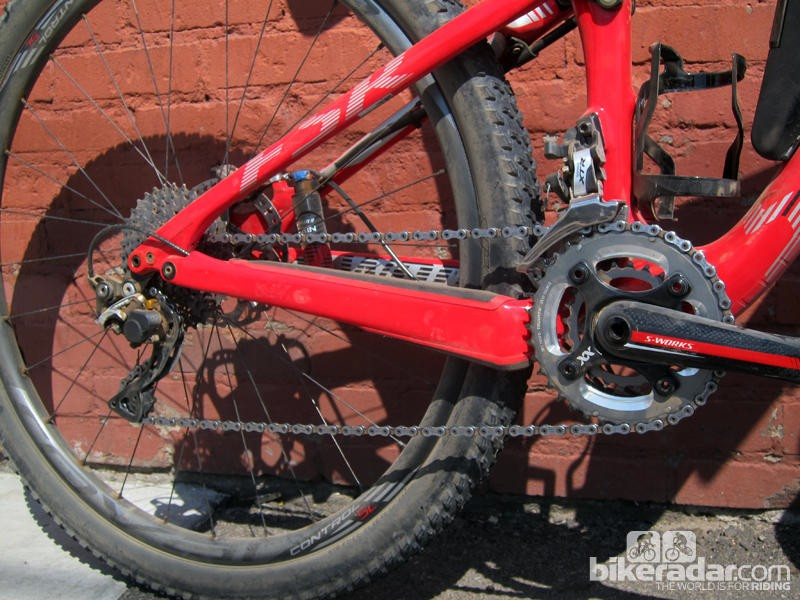 While the World Cup Epic goes 1x11, this model runs 2x10 XTR –and we needed every one of those gears throughout the long day at Leadville