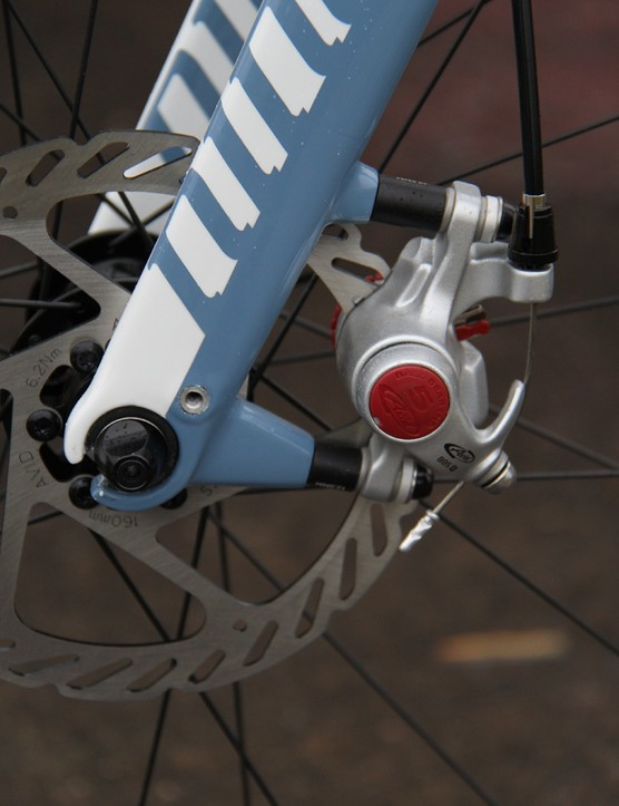 The RLT 9 can run a 140mm or 160mm (shown) front rotor. The fork has mounts for fenders