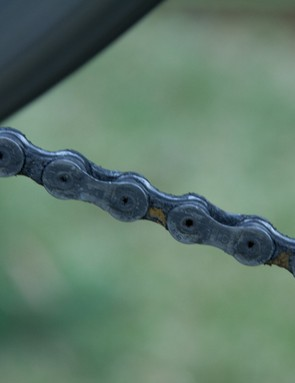 This is a chain before cleaning with the Finish Line Chain Cleaner