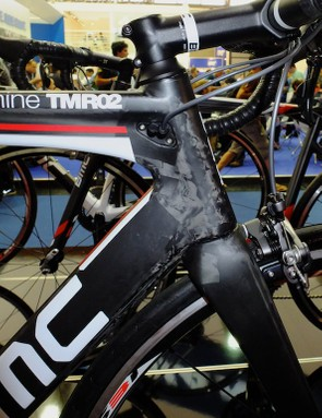 Although the frame shape is identical, the TMR02 doesn't feature the TMR01's faired front brake cable routing