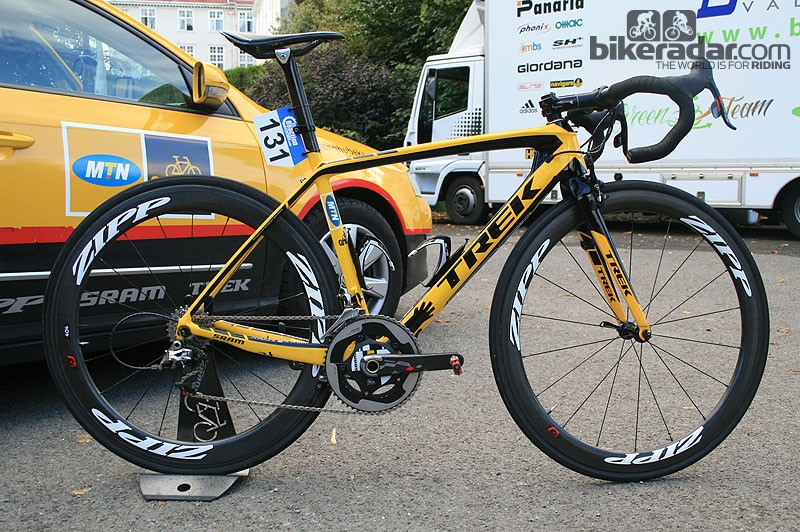 Gerald Ciolek's (MTN-Qhubeka) Trek Madone 7-Series ready to go at the 10th Tour of Britain in Peebles