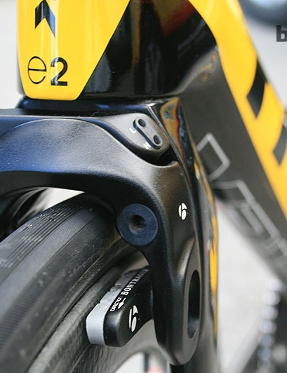 The Trek 7-Series's fork is cut away to take direct mount brakes and MTN-Qhubeka use Bontrager's version