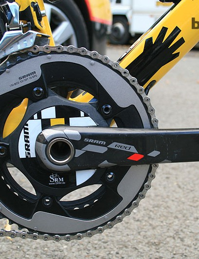 The hollow axle on the SRAM Red SRM crankset means Cioek's bike is on the UCI weight limit – smaller team frames were filled for extra weight
