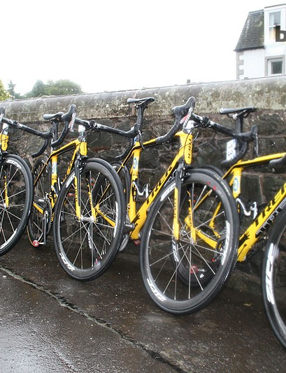 MTN-Qhubeka's Trek Madone 7-Series were propped up and ready to go as the rain fell a little harder just before the start