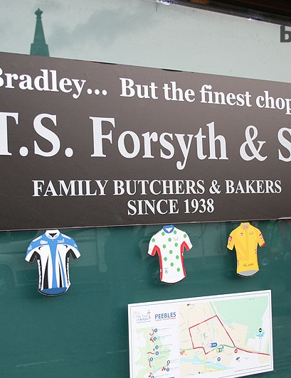 A witty Peebles butcher capitalises on Bradley Wiggins presence