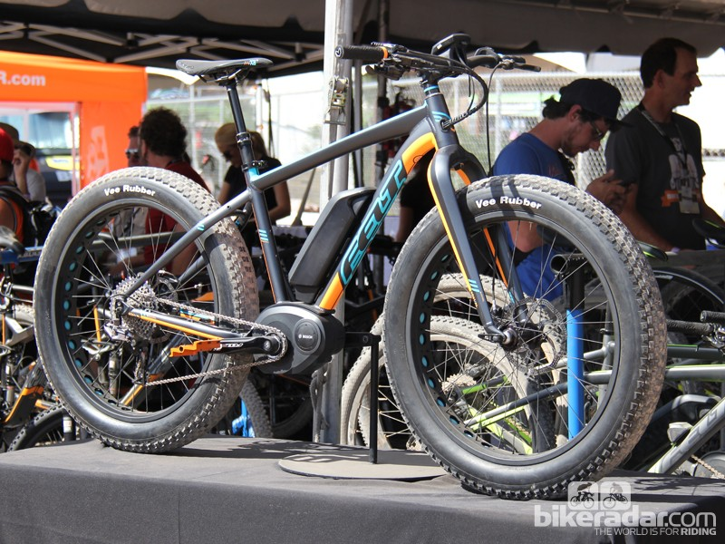 """This Felt electric fat bike prototype, dubbed """"Fat-E"""", features a 250-watt Bosch motor. The Fat-E is still in the early stages of development; the company expects it will be available in late 2014 or early 2015"""