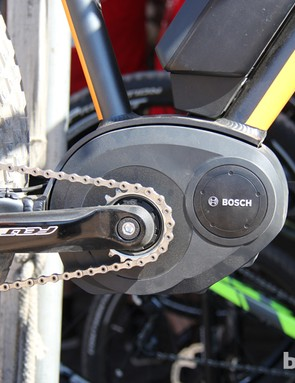 The Bosch pedal assist system adds approximately 6lb (2.7kg) to a bike. The claimed weight for Felt's Fat-E prototype is 45lb (20.4kg)