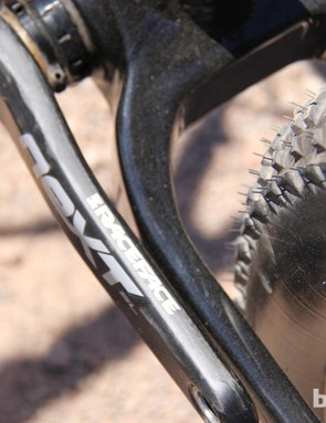 The Yampa frame can accomodate 4.8in tires on 100mm-wide rims