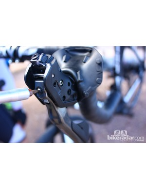 The lever's reach is adjusted with a flat screwdriver. Shimano claims 10mm of reach adjust, but the total adjustment at the bottom of the lever is at least 15mm
