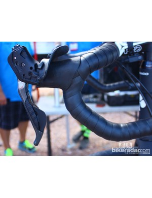The Shimano R785 lever with the reach adjust dialed all the way out