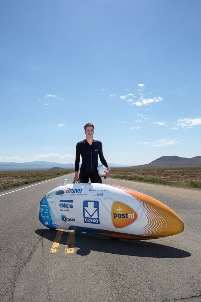 Pilot rider Sebastiaan Bowier poses with the world's fastest bike, the Velo X3