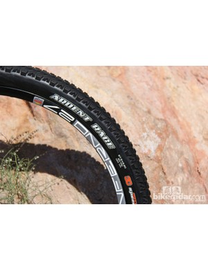 The Ardent Race has the same tread pattern with downsized knobs; it has a 120tpi casing, tubeless-compatible bead and a 3C compound