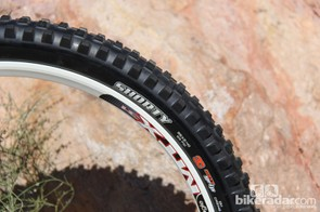 The Maxxis Shorty is designed for downhill tracks where a fulll-on mud spike is overkill; the company also claims it performs well in very loose, blown-out conditions