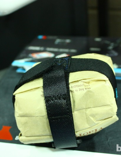 The Hopper Saddle Bag, with a recycled coffee bag