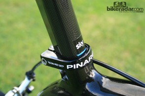 The teardrop-shaped seatpost adds an aerodynamic touch to the frameset