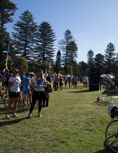 Large crowds await the result for the NSW State Cyclo-Cross Championship - sponsored by WD-40 Bike, Champ-Sys and Manly Environment Centre