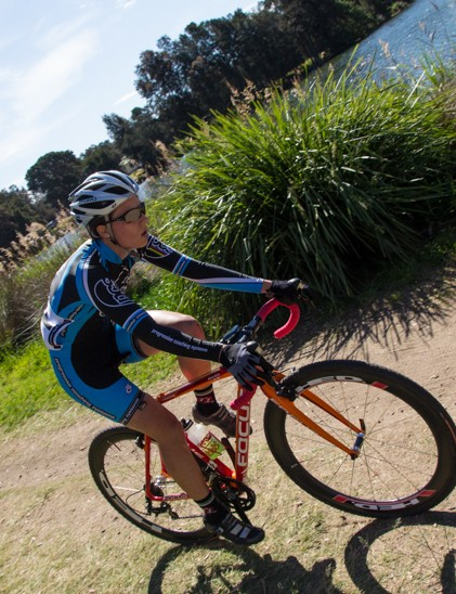 Lindsay Gorrell on her way to becoming the first NSW State Cyclo-Cross Champion