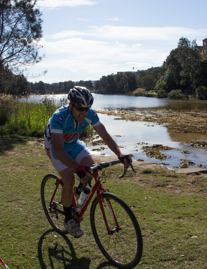Gary Harwood of local Manly Warringah Cycling Club shows off the scenic setting