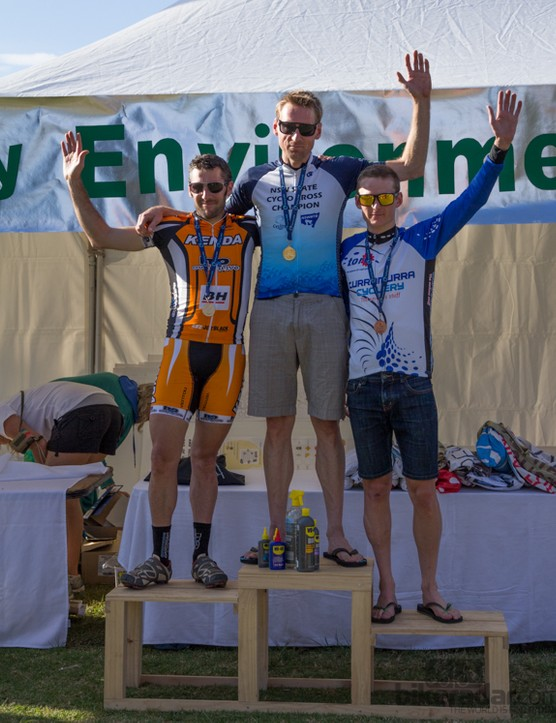 The elite mens's podium - Garry Millburn, Sid Taberlay and Nick Both (third to first place)