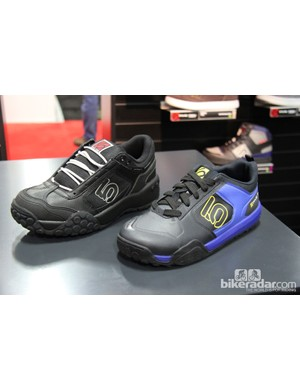 Five Ten put its Impact shoe on a diet for 2014. Shown here is the new slimmer Impact VXi (right) compared with its bulkier predecessor (left). The updated Impact VXi will retail for US$140