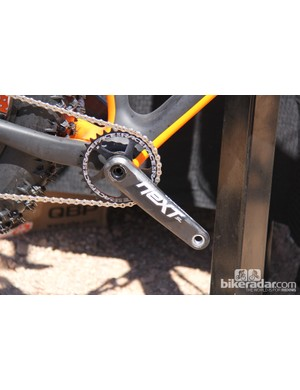 The new Race Face Next SL crankset has carbon fiber arms layed up by hand in Vancouver, British Columbia. The Next SL crankset features a 30mm spindle and modular chainring interface. The Next SL crankset will be available in October for US$600