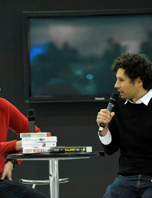 The London Bike Show gives cycling authors such as Richard Moore (left) and Daniel Friebe  a platform to discuss aspects of the sport closest to their hearts